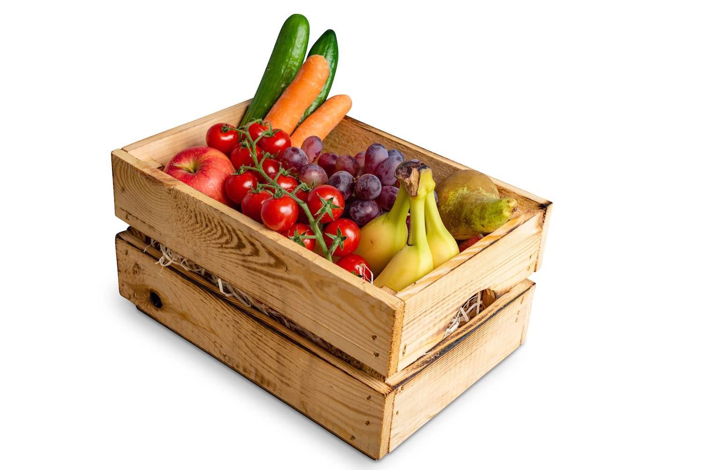 Äpfel, Birnen, Bananen + Saisonobst + Karotten Snackgurken Minitomaten